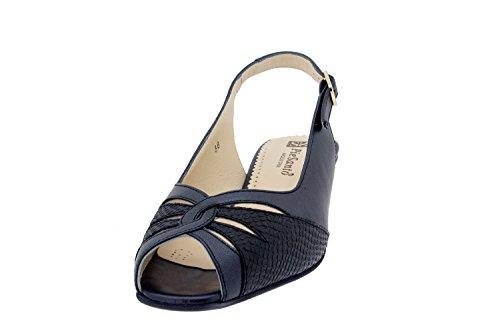 Calzado mujer confort de piel Piesanto 4015 sandalia zapato cómodo ancho Negro/Pitón