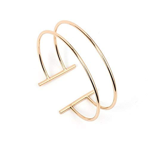 Dwcly Double Layer Hollow Geometry Simple Expandable Wire Cuff Bangle Bracelet All-Match Wrist Jewelry (Gold)