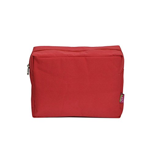 (N. Gil Large Travel Cosmetic Pouch Bag 2 (Solid Red))