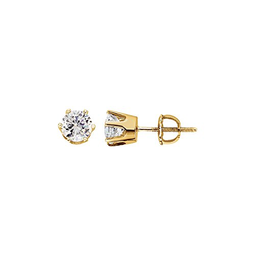 Women's 14K Yellow Gold Round Cubic Zirconia 6-Prong Stud Earrings - 0.26 inches width, Polished ()