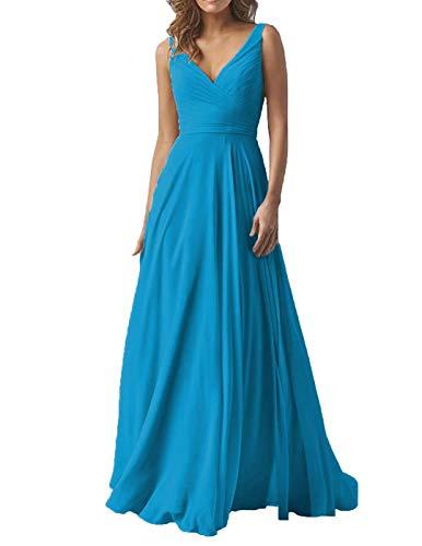 Women's Double V Neck Wedding Bridesmaid Dresses Long A-Line Chiffon Formal Evening Maxi Dress 2019 Ocean ()