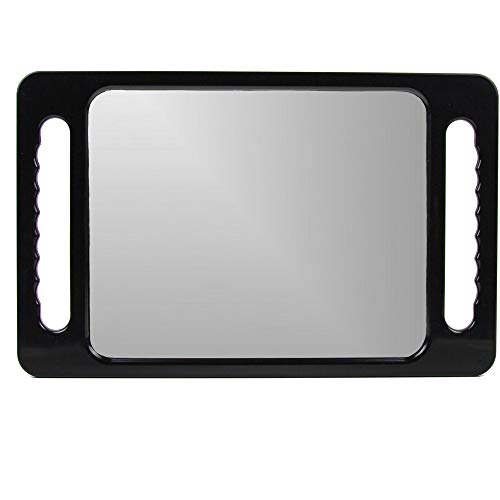 Large Hand Mirror with Double Handle - Rectangular Hand Held Mirror with Handle - Hair Salon Equipment Hairstylist and Barber Accessories Double Molded Abs Handles