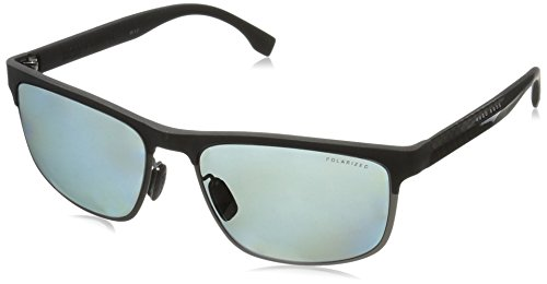 BOSS by Hugo Boss Men's B0835s Polarized Rectangular Sunglasses, Black Carbon Black/Gray Polarized, 58 - Boss Glasses Hugo