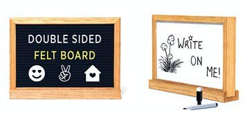 - Double Sided 2in1 Message Board, Felt Letterboard Plus Whiteboard, Oak Frame with Stand, 320 Letters and Large Emoji in 3 Canvas Bags, Dry Erase Marker (Black Felt Side, 320 White and Yellow Letters)