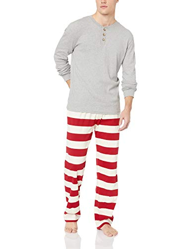 ily Jammies, Cranberry Rugby Stripe, Holiday Matching Pajamas, Organic Cotton, Womens Jumpsuit Small ()