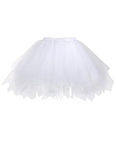 White Tutu Skirt For Adults (Satinior Vintage Petticoat Crinolines Tutu Ballet Bubble Skirts Adult Tulle Skirt (S - M Size, White))