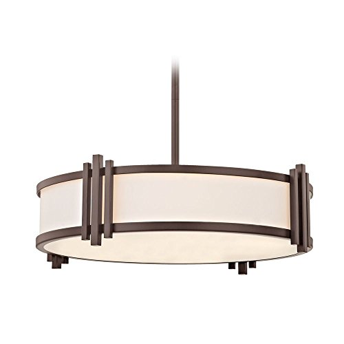 Blair Bronze Pendant / Semi Flush Convertible Light with Drum Shade - Convertible Semi Flush 3 Light