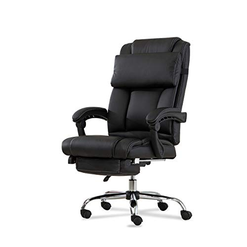Belleze Executive Reclining Office Chair Recline High Back Faux Leather Footrest Armchair Recline with Pillow, Black ()