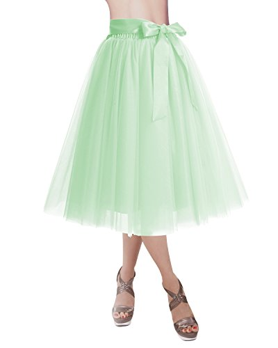 Dresstells®Falda Corta Tul Mujer Midi Cintura Elástica Con Lazo Para Fiesta Danza Mint