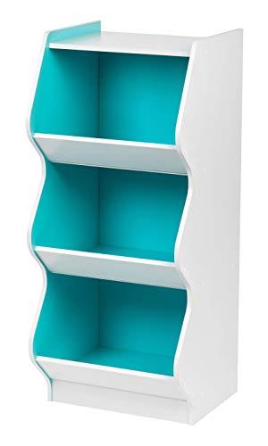 IRIS 3 Tier Curved Edge Storage Shelf, White and Blue ()