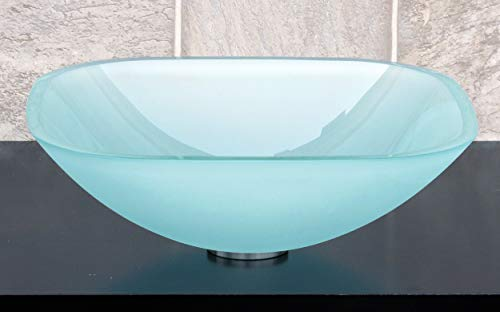- 1/2 Thick Bathroom Frosted Square Glass Vessel Vanity Sink with free drain/ring
