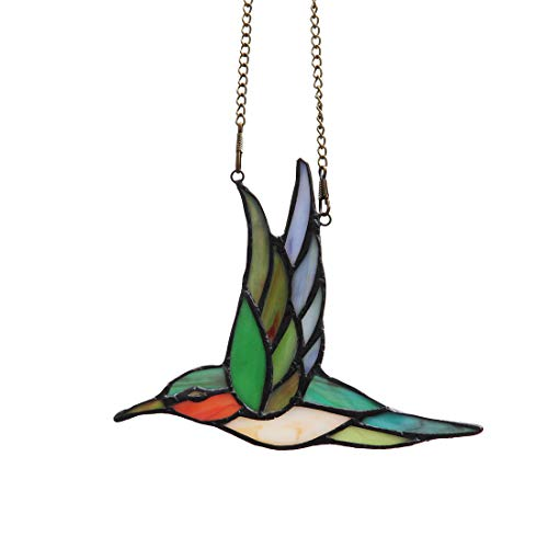 - Makenier Tiffany Style Stained Glass Humming Bird Window Hanging Sun Catcher