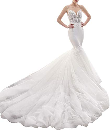 Women's Spaghetti Straps Lace V-Neck Court Trrain Mermaid Wedding Bridal Gowns White Size ()