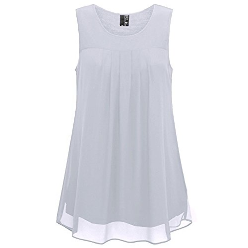 Fleasee Women's Sleeveless Chiffon Tank Top Double Layers Casual Flowy Tunic Blouse Off-White