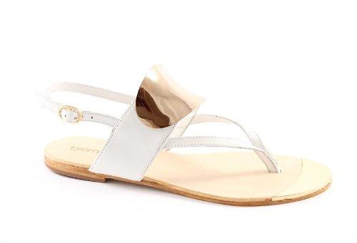 GEMMA 286-20 de cuero blanco sandalias de tiras mujer de cuero blanco Bianco