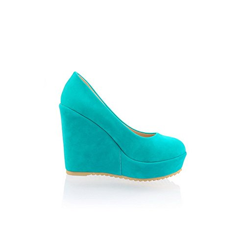 AmoonyFashion Womens Closed Round Toe High Heel Platform Wedges PU Frosted Cotton Solid Pumps Blue kKjU0