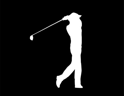 CMI ND112W Golfer From Side View After Shot Decal Sticker   5.5-Inches By 3.8-Inches   Premium Quality White Vinyl