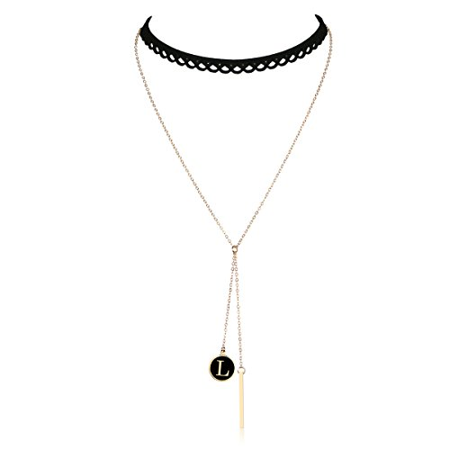 Cozylife Letter Gold Bar Pendant Women Girls Black Lace Hollow Choker Double Layered Chain Chokers Y Necklace (L) by Cozylife