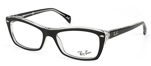 Ray-Ban Women's Rx5255 Square Eyeglasses,Top Black & Transparent,51 - Ray Frame Ban Transparent