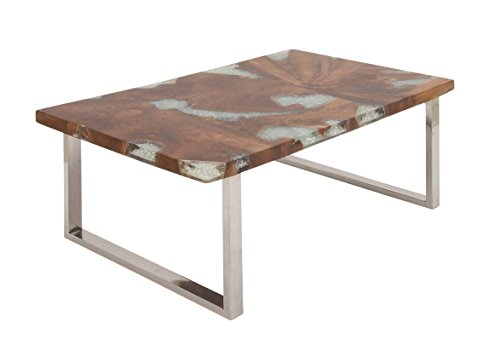 (Deco 79 Stainless Steel Teak and Resin Table, Clear/Brown/Silver)
