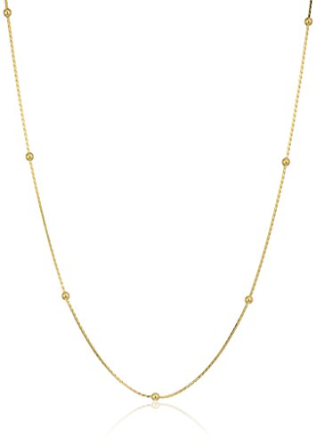 14k Yellow Gold Small Beaded Stationed Necklace, (14k Gold Beaded Necklace)