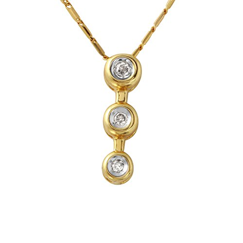 0.1 Carat Natural Diamond 10K Yellow Gold Three-stone Journey Pendant Necklace for Women - 0.1 Ct Diamond Bezel