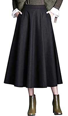 chouyatou Women's Simple A-Line Flare Pleated Long Wool Skater Skirt with Pocket