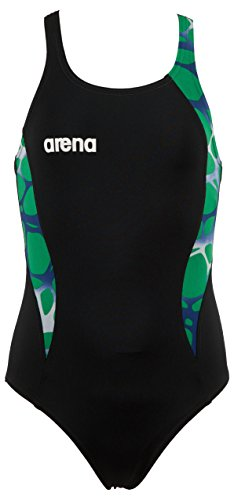 Arena Girl's Carbonite One Piece Swimsuit, Black/Asphalt/Kelly Green, 26