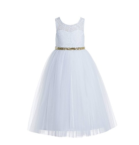 ekidsbridal Floral Lace Scoop Neck A-Line White Flower Girl Dresses Keyhole Back Communion Dresses Pageant Dress 178 4 -