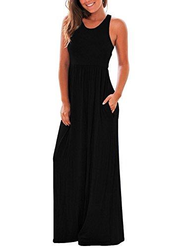 LONGYUAN Women's Sleeveless Long Floor Length Vest Maxi Slim Beach Dress