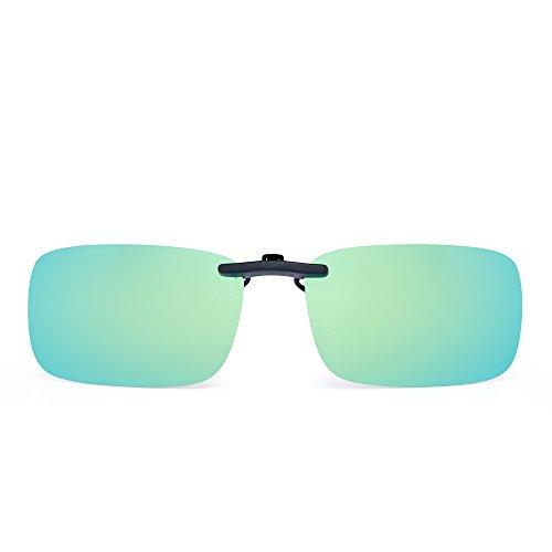 Rimless Rectangle Clip on Sunglasses Lightweight Polarized Eyeglasses Men Women (Polarized Yellow ()