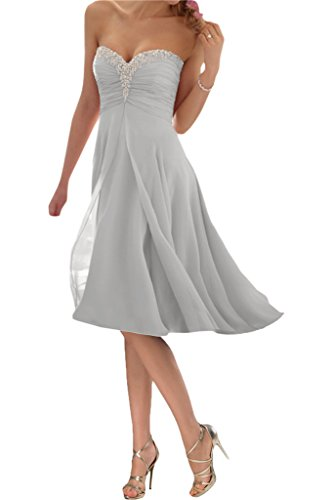 Promgirl House Damen Glamour Traegerlos A-Linie Chiffon Abendkleider Cocktail Ballkleider Kurz-54 Silber Kurz