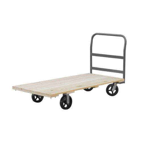 Akro-Mils RPT24485K5M8GY 24-Inch  by 48-Inch  Industrial Grade Hard Wood Platform Truck with Crossbar Handle and 8-Inch  Mold-On Rubber Casters with  1500-Pound (Hardwood Deck Platform Truck)