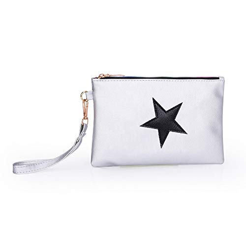 Bag Pouch Bag Women Byste Leather Zipper Silver Fashion Clutch Star Pattern Coin Makeup fwPzq