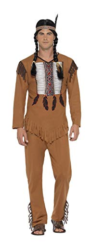 Smiffy's Native American Indian Brave Adult Costume, Brown, Small]()