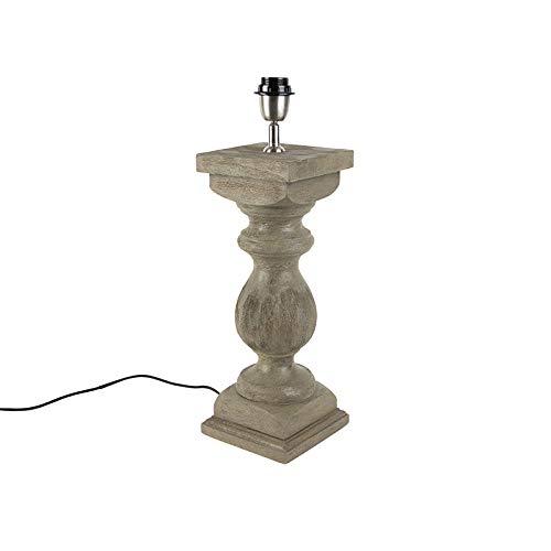 QAZQA rústico Lámpara de mesa rústica sin pantalla 50cm ...