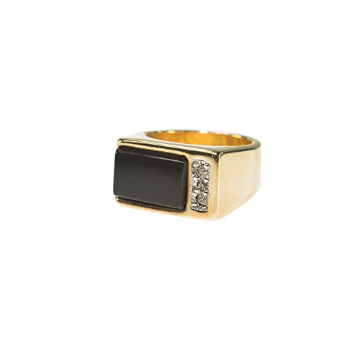 Providence Vintage Jewelry Men's Ring Genuine Onyx and Swarovski Crystals 18k Gold Electroplated 18k Gold Electroplated
