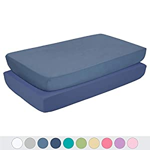 TILLYOU Silky Soft Microfiber Crib Sheets Set, Breathable Cozy Hypoallergenic Toddler Sheets Set for Boys, 28 x 52in Fits Standard Crib & Toddler Mattress, 2 Pack Navy & Gray Blue