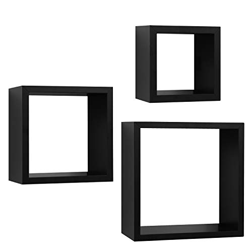 Square Floating Wall Shelves - 3 Sizes: 9x9, 7x7, and 5x5 Inches - Black