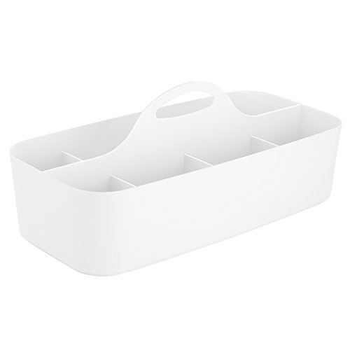 Vanity Tote - InterDesign Clarity Cosmetic Organizer Tote for Vanity Cabinet to Hold Makeup, Beauty Products, White, Large Tote