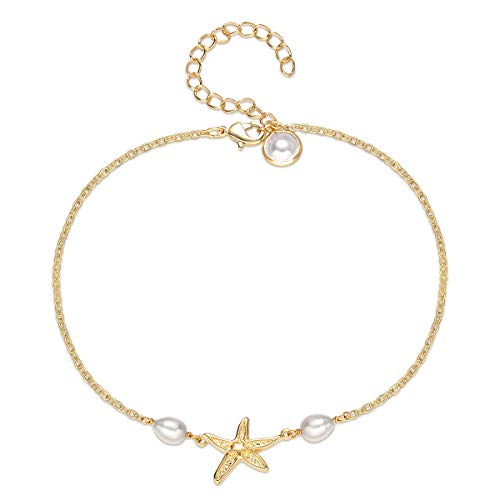 Mevecco Starfish Anklet,14K Gold Filled Beach Boho Freshwater Cute Dainty Handmade Pearl Small Tiny Beaded Charm Foot Chain Nautical Starfish Ankle Bracelet for Women
