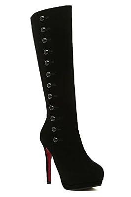 WeiPoot Womens Blend Materials Mid-Top Zipper Solid High-Heels Closed Toe Boots