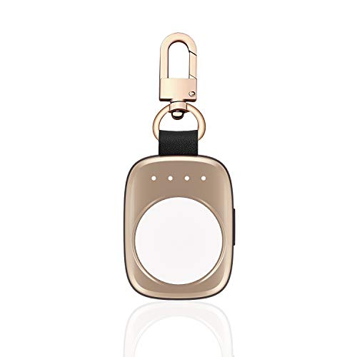 Firenew Apple Watch Charger iWatch Charger with Built in 700 mAh 4 LED Indicating MFI Certified Pocket-Sized Wireless Portable Battery for All Apple Watch Series 3 2 1 Nike 38mm 42mm (Gold)