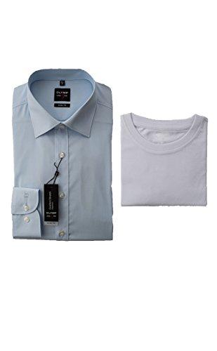 OLYMP Hemd, Hellblau, Body Fit Level Five, inklusive T-Shirt