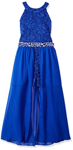 Price comparison product image Speechless Girls' Big High Neck Maxi Romper Dress, Royal Blue, 12