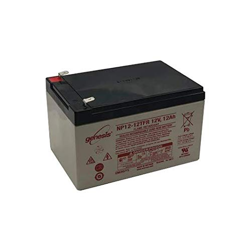 12 Sealed Hour Amp Lead - EnerSys Genesis NP12-12TFR - 12 Volt/12 Amp Hour Sealed Lead Acid Battery with 0.250 Fast-on Connector, Flame Retardant Case