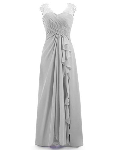 (Miao Duo Women's Maxi Lace Applique Sweetheart Evening Prom Dress Plus Size Long Formal Gowns Chiffon Pleated Silver 22W)