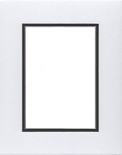 18x24 Double Acid Free White Core Picture Mats Cut for 12x18 Pictures in White and Black