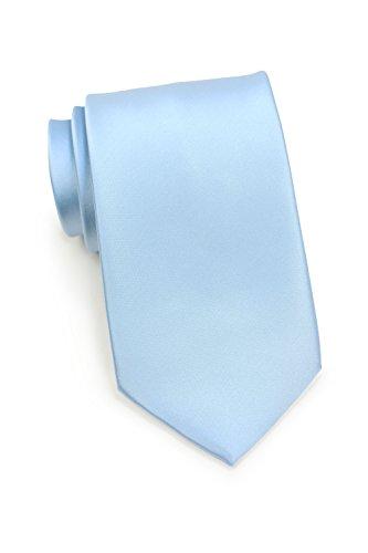 Bows-N-Ties Men's Necktie Solid Color Microfiber Satin Tie 3.25 Inches (Powder (Baby Blue Necktie)