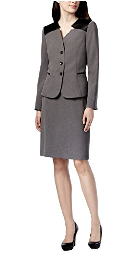 Tahari ASL Elaine Three-button Faux-Leather Trim Skirt Suit, 12-P, Smoke/Black (Button 3 Asl Tahari)